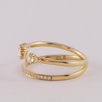 Diamond ring with two bands set in 9k Yellow Gold