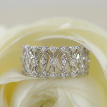 Diamonds in Lace 9k White Gold Ring