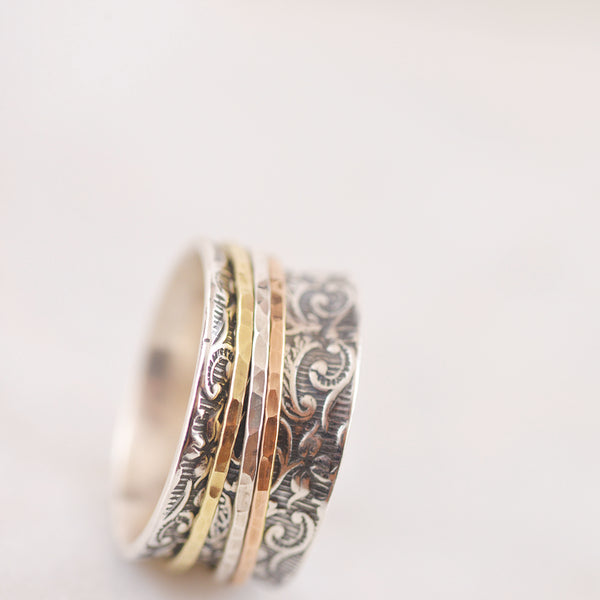 Floral Embossed Sterling Silver Ring with TriTone Spinners