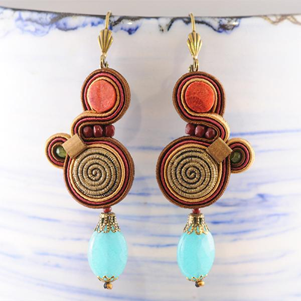 Embroidered Leather and Beaded Earrings