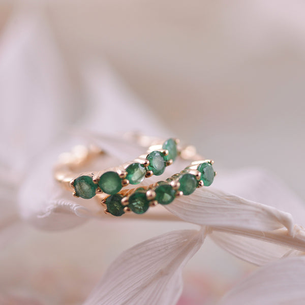 Single Row Emerald Huggies in 9k Yellow Gold