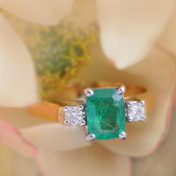 Emerald and Diamond 18K Yellow Gold Ring
