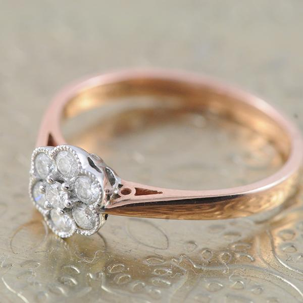 Flower Cluster Diamond Ring in 9k White and Rose Gold