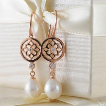 Fresh Water Pearl 14K Rose Gold Plate Flower Earrings