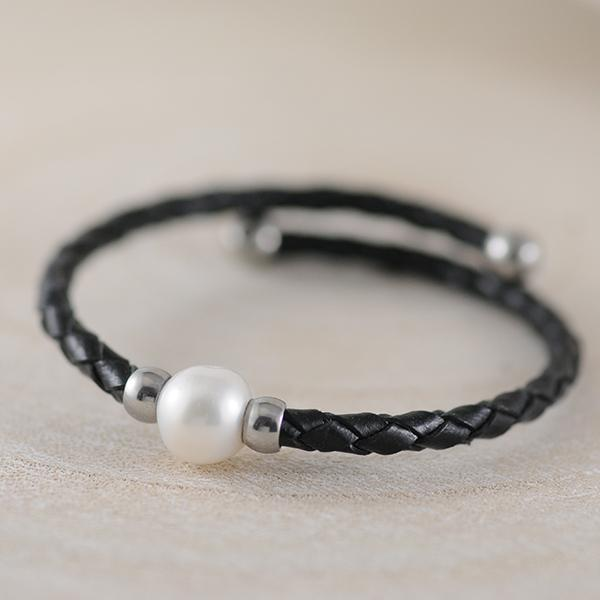 Fresh Water Pearl Black Leather Bracelet with Stainless Steel