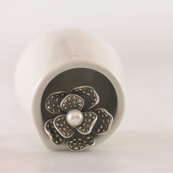 Freshwater Pearl and Marcasite Flower Ring