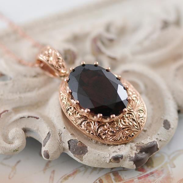 Garnet Pendant with Hand Engraving