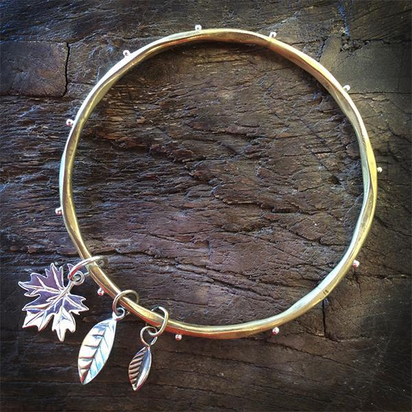 Gold Bangle with Leaf Charms