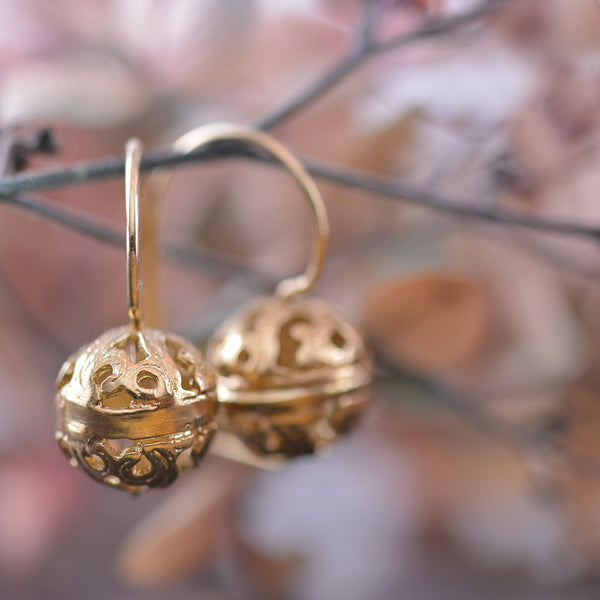 9k Yellow Gold Filigree Ball Earrnings