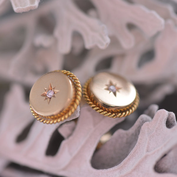 9k Yellow Gold Rope Edging and Star Diamond Disk Stud Earrings