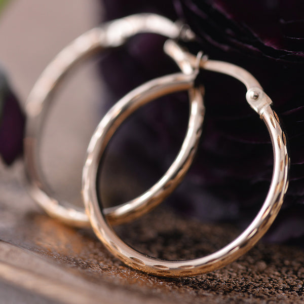 Yellow Gold Textured Hoops