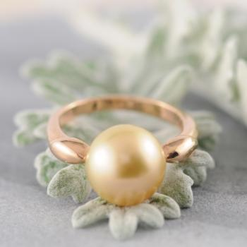 Golden South Sea Pearl Ring Rose Gold