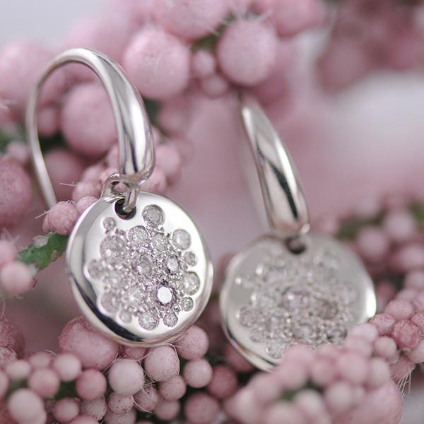 Pink Diamond Grey Diamond and White Argyle Diamond Disc Drop Earrings in 18ct White Gold
