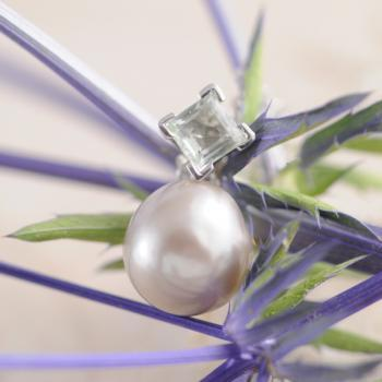 Grey Tahitian Pearl with Pale Green Tourmaline Pendant in 18k White Gold