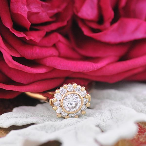Handmade Diamond Cluster Ring in 18ct Yellow Gold