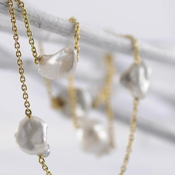 Keishi Pearl Strand Necklace with 18k Yellow Gold chain