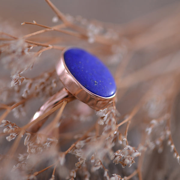 Lapis Lazuli Rose Gold Bezel Set Ring
