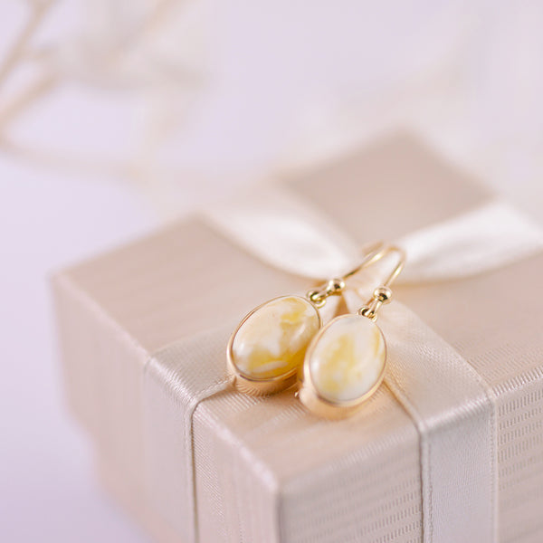 Lemon Amber 9K Yellow Gold Bezel Set Drop Earrings