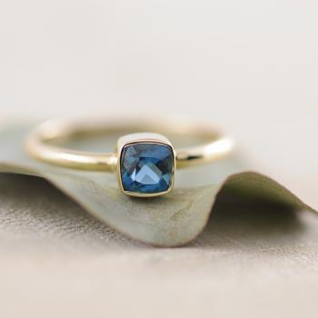 London Blue Topaz Cushion Bezel Ring in 9ct Yellow Gold