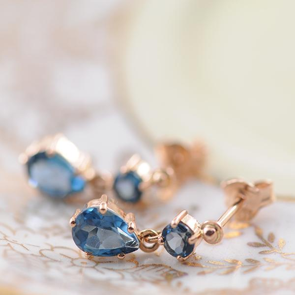London Blue Topaz Drop Stud Earrings in 9ct Rose Gold