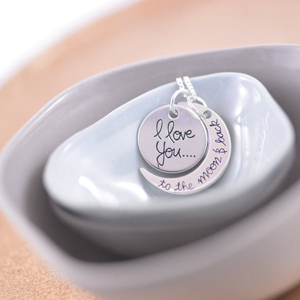 Sterling Silver 'I Love You To The Moon And Back' Pendant