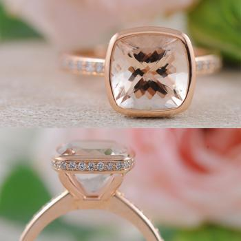"""Lumiere"" - Morganite and Diamond Ring in 18k Rose Gold"