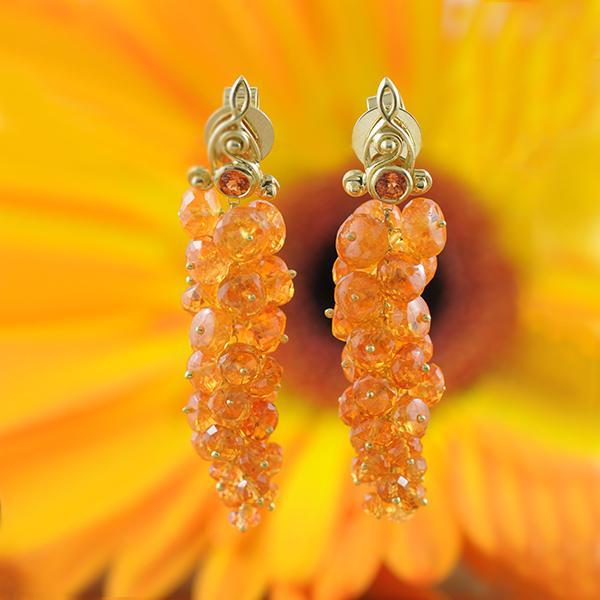 Mandarine Garnet and Yellow Sapphire Grape Earrings