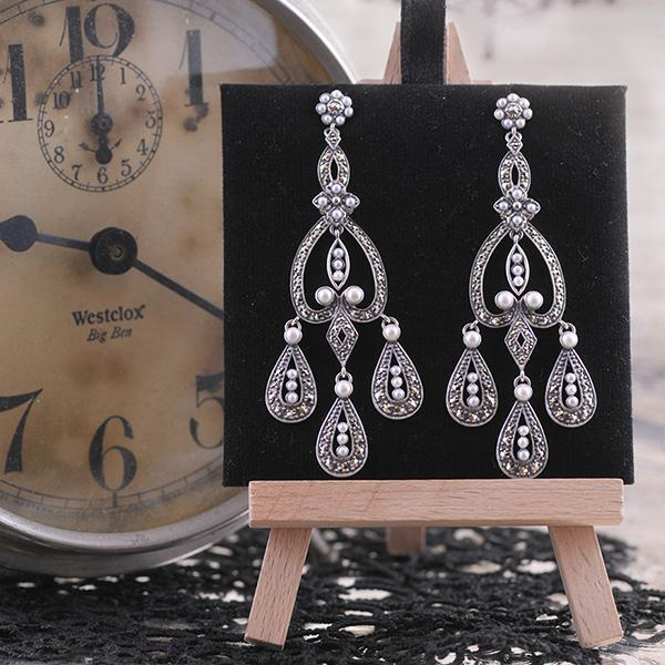 Marcasite And Pearl Drop Dangle Earrings set in Sterling Silver