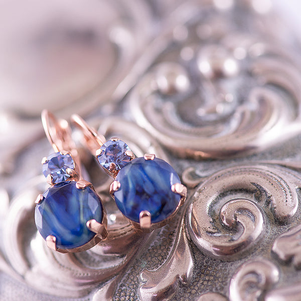 Mariana Blue Swirl Double Drop Earrings