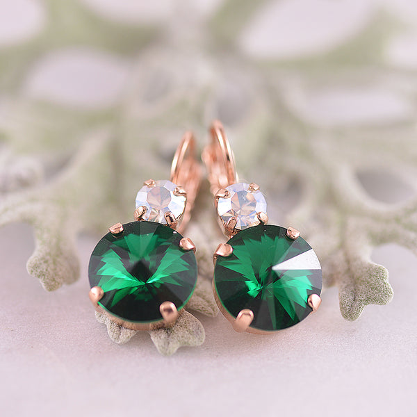 Mariana Clear & Emerald Green Crystal Drop Earrings