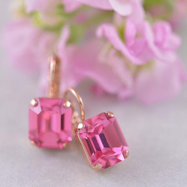 Mariana Pink Emerald Cut Swarovski Single Drop Earrings