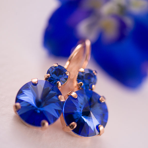 Mariana Royal Blue Double Drop Earrings