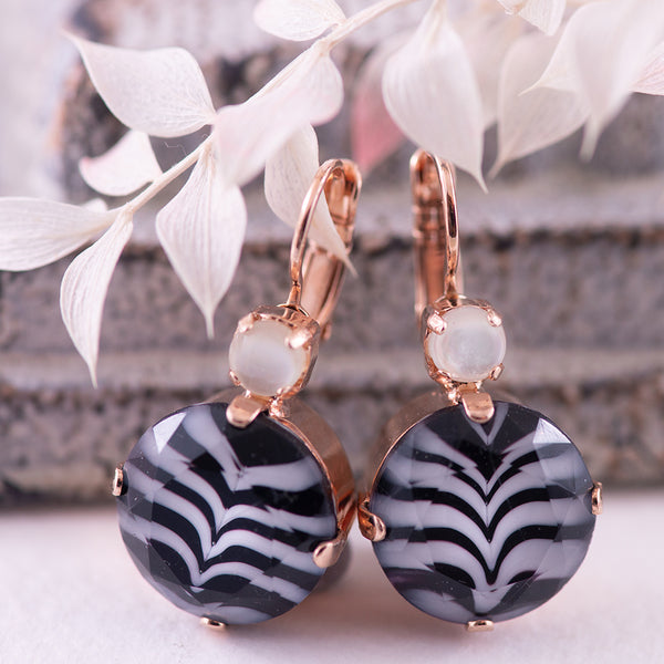 Mariana Zebra Earrings in Rose Gold Tone