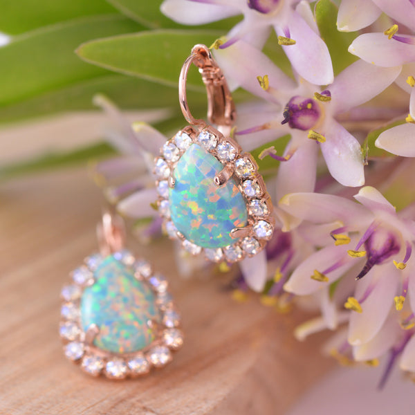 Mariana Crystal Moonlight and Green Opalite Earrings