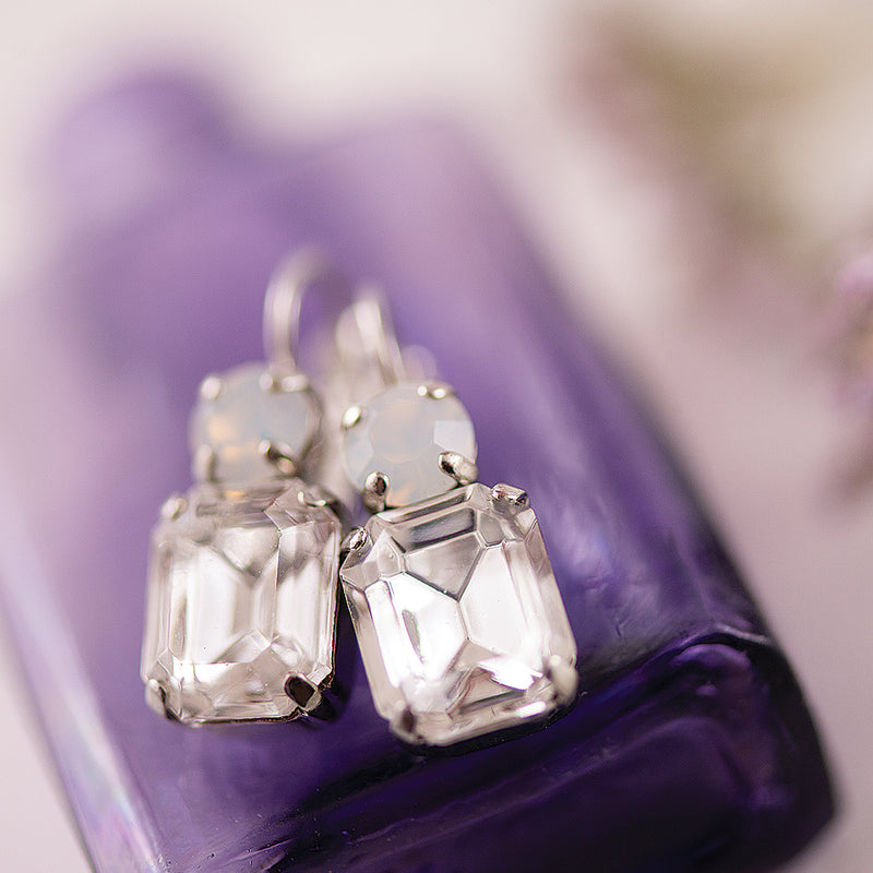 Marina Emerald Cut Clear and Smokey Round Double Drop Earrings