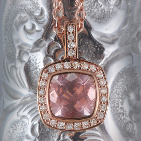 9K Rose Gold Morganite and Diamond Pendant