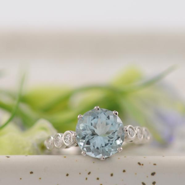 Mid Blue Aquamarine Ring in Platinum  2.5ct 9mm Round