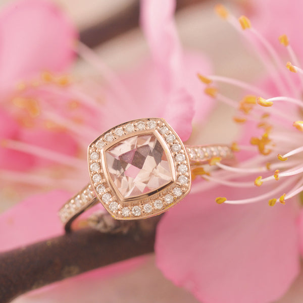 9k Rose Gold Morganite Cushion Bezel Diamond Ring
