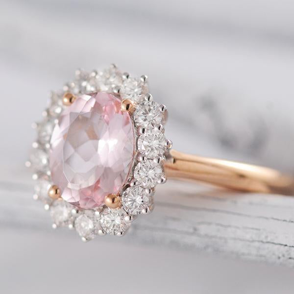 Morganite and Diamond Cluster Ring in 18ct White and Rose Gold