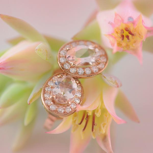 Morganite & Diamond Stud Earrings set in 9k Rose Gold