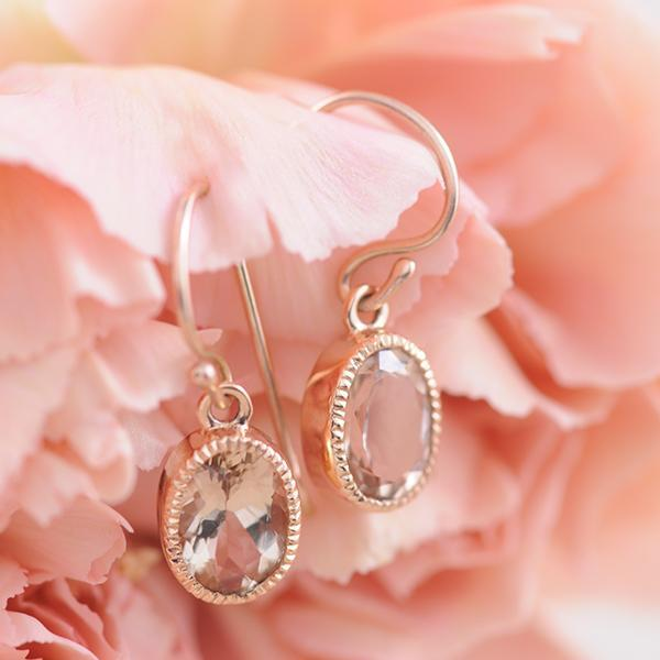 Morganite Drop Earrings with Milgrain and Shepherd Hooks in 9ct Rose Gold