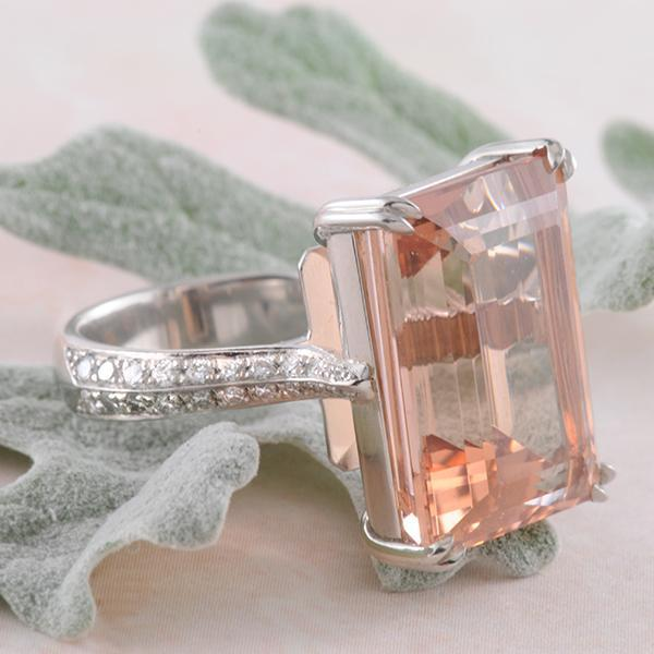 Morganite Emerald Cut and Diamond Ring in Platinum