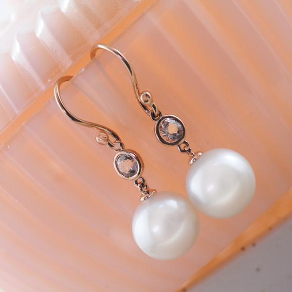 Morganite Freshwater Pearl Drop Earrings