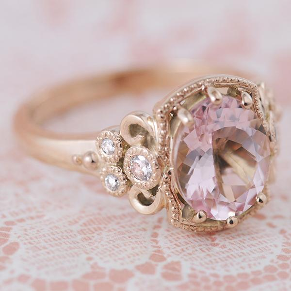 Morganite Rose Gold  , Filigree Engagement Ring