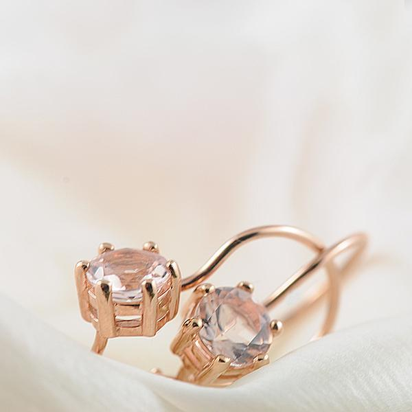 Morganite Round 6 Claw Earrings with Shepherd Hook in 9ct Rose Gold