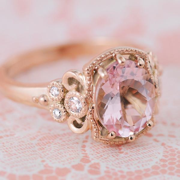 Morganite and Diamond Engagement Ring in Rose Gold