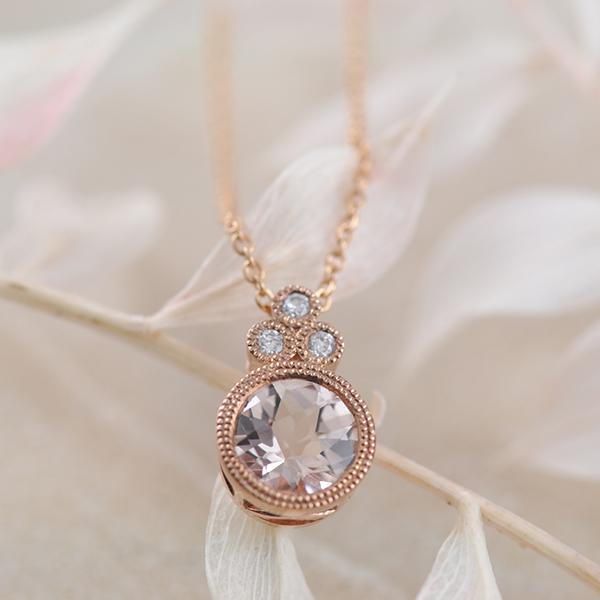 Morganite-and-Diamond-Pendant-with Millgraine