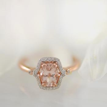 Morganite and Diamond Ring set in 9k Rose Gold