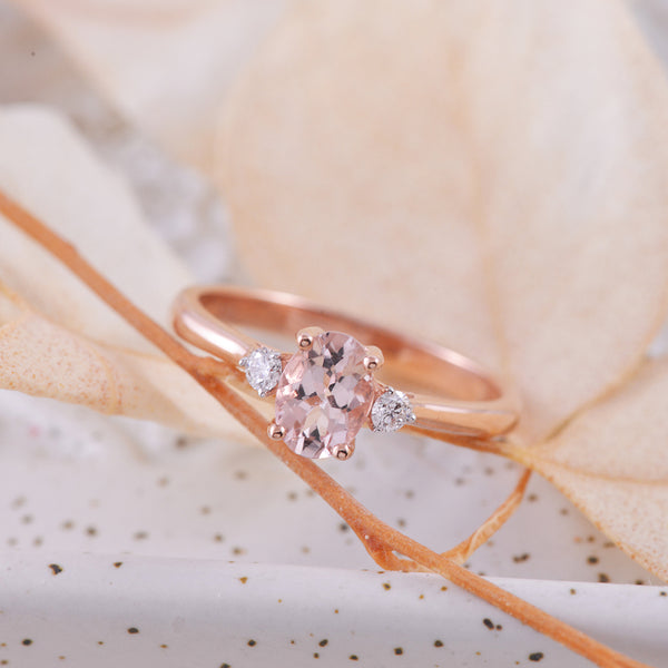 Oval Morganite and Diamond Ring in 9k Rose Gold