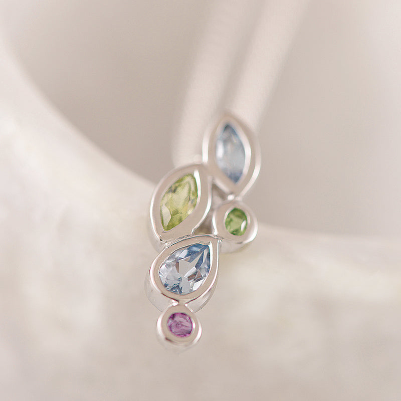 Sterling Silver Rhodium Pendant with Multi-coloured Stones
